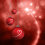 Red lovely Xmas bulbs set background Stock Image