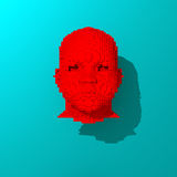 Red low poly head illustration. Low poly head illustration, 3d colorful rendered object Royalty Free Stock Photography