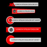 Red lower third banners  on black background. Red lower third banners. Screen bars broadcast. Flat vector illustration  on black background Royalty Free Stock Images
