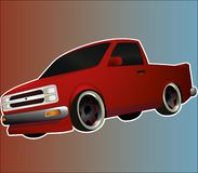 Red lowered sport pickup with black and red whitewall wheels vector illustration