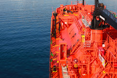 Red LPG tanker, bow with equipment Royalty Free Stock Photos