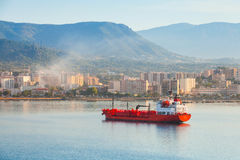 Red LPG tanker stands moored in Port of Ajaccio Royalty Free Stock Photo