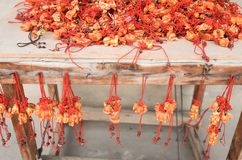 Red lucky souvenir by the zodia on Chinese beliefs stock photography