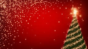 Red background with Christmas tree. Red luminous background with green Christmas tree. Vector illustration Royalty Free Stock Photography