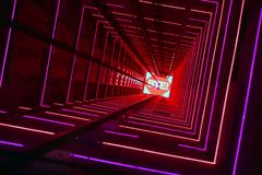Red Luminous Lift Tunnel. Elevator corridor in the building lit by red elumination. Futuristic elevator shaft is located in a high tower. Lift shaft in a stock images