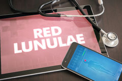 Red lunulae (cutaneous disease) diagnosis medical concept on tab. Let screen with stethoscope Royalty Free Stock Photos