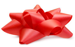 Red Lush Bow Side View Isolated With Path Stock Image