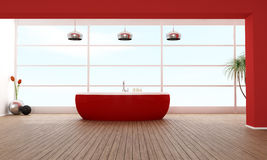 Red luxury bathroom Stock Image