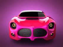 Red luxury brandless sport car on pink background Royalty Free Stock Photography