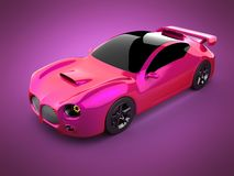 Red luxury brandless sport car on pink background Stock Photography