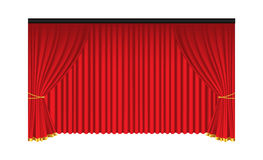 Red luxury curtains and draperies on white background Royalty Free Stock Images