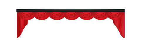 Red luxury curtains and draperies on white background Royalty Free Stock Photos