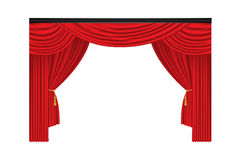 Red luxury curtains and draperies on white background Stock Images