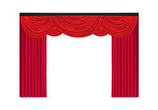 Red luxury curtains and draperies on white background Royalty Free Stock Image