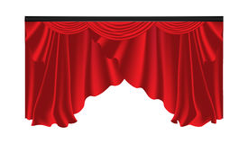 Red luxury curtains and draperies on white background Stock Photography