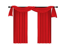 Red luxury curtains and draperies on white background Stock Photo