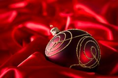 Red luxury satin. With christmas ball stock photos