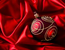 Red luxury satin. With christmas balls stock photo