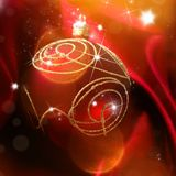 Red luxury satin. With christmas balls stock image