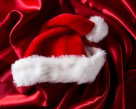 Red luxury satin. With santa cap stock images