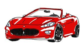 Red luxury at speed. Red convertible car painted modernist scratches Stock Photos