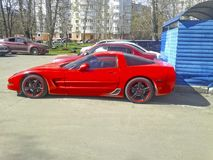 Red luxury sports car. Chevrolet Corvette. Moscow. April. 2018 Royalty Free Stock Photo