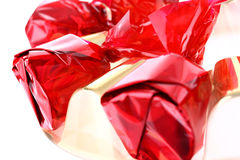 Red luxury sweets isolated on white Royalty Free Stock Photos