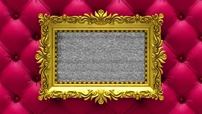 Red luxury upholstery on background. Tv noise and green chroma key plays on the screen in ornate gold picture frame. 3D. Tv noise on the screen in gold picture stock footage