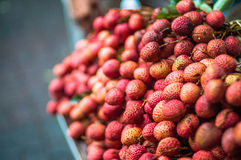 Red lychee at wet market. This lychee fruits is the populor fruits in asia stock photo