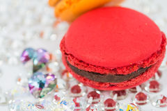 Red macaroon on crystals Stock Image