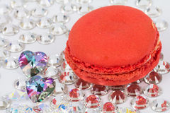 Red macaroon on crystals Stock Photography