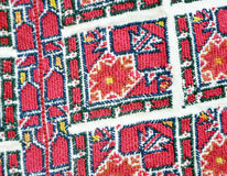 Red  macedonian embroidery. Picture of red  macedonian embroidery Royalty Free Stock Photos