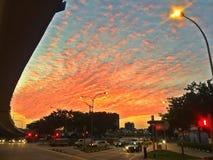 Red mackerel sky at sunset Stock Photography