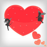 Red magic heart with little fairies Royalty Free Stock Photography