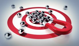Free Red Magnet On Target With Steel Balls Royalty Free Stock Images - 154323549
