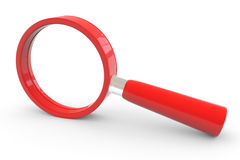 Red magnifying glass. Royalty Free Stock Photo