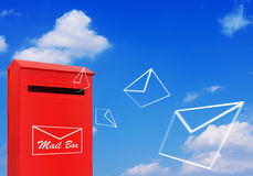 Red Mail Box and Flying Letter Stock Photos