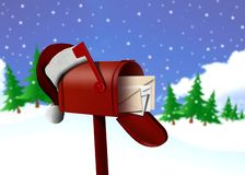 Red mail box and hat. Image red mail box and Santa Clause hat Royalty Free Stock Image