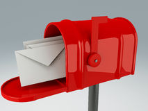 Red mail box with heap of letters Royalty Free Stock Image