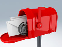 Red mail box with heap of letters Royalty Free Stock Photo