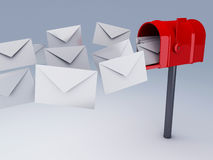 Red mail box with heap of letters Stock Photography