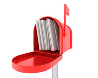 Red mail box with heap of letters Royalty Free Stock Photos