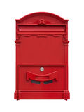 Red mail box. Isolate on a white background stock photos