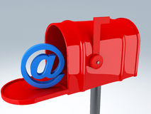 Red mail box with at sign. email concept Stock Photography