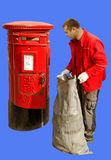 Red mail-box and worker. Stock Photo