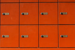 Red mail boxes. Bucharest, Romania, 7 February 2016: Red horizontal mail boxes in a post office stock photo