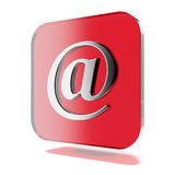 Red mail icon. Isolated on a white background. 3d render Stock Image