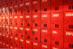 Red Mailbox. This mailbox is a classic facility in old building in Hong Kong Stock Images