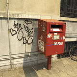 Red mailbox. Mailbox in Antwerp (Belgium Stock Images