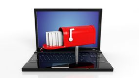 Red mailbox with with envelopes on black laptop Royalty Free Stock Photography